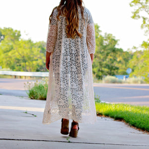 Cream Lace Duster 3/4 Sleeve