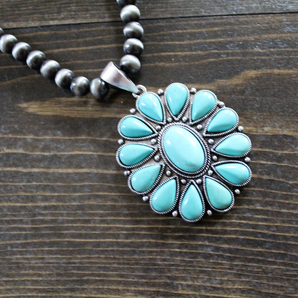 Western Perl Necklace With Natural Turquoise Pendant