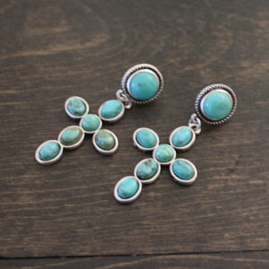 Natural Turquoise Cross Earrings
