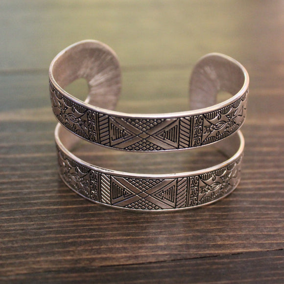 Double Layer Silver Aztec Cuff