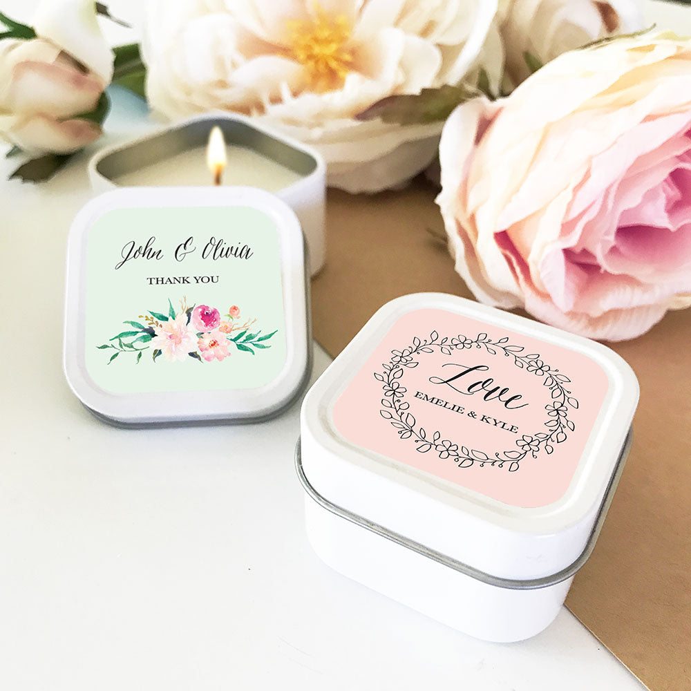 Personalized Floral Square Candle Tins – The Wedding Favors