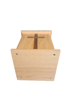 Eden square oak cremation urn with walnut cross