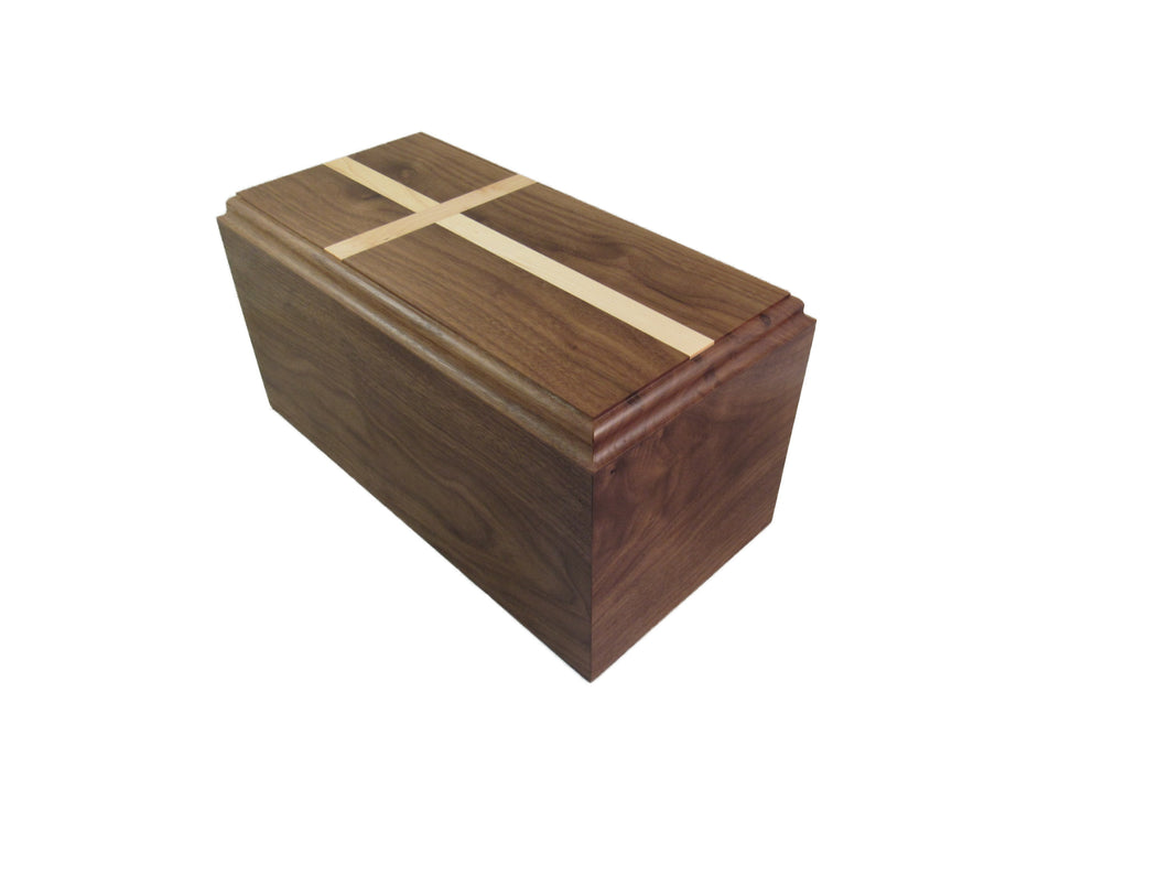 Traditional  Premium Walnut Urn w/cross
