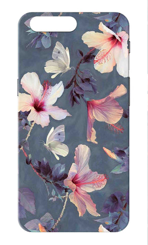 One Plus 5 - Grey White Floral Mobile Case