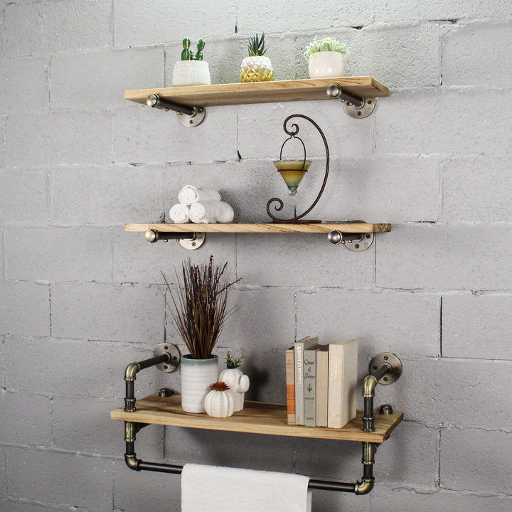 Jacksonville 3-Piece Industrial Farmhouse Shelf Rack Wall Shelf Bundle