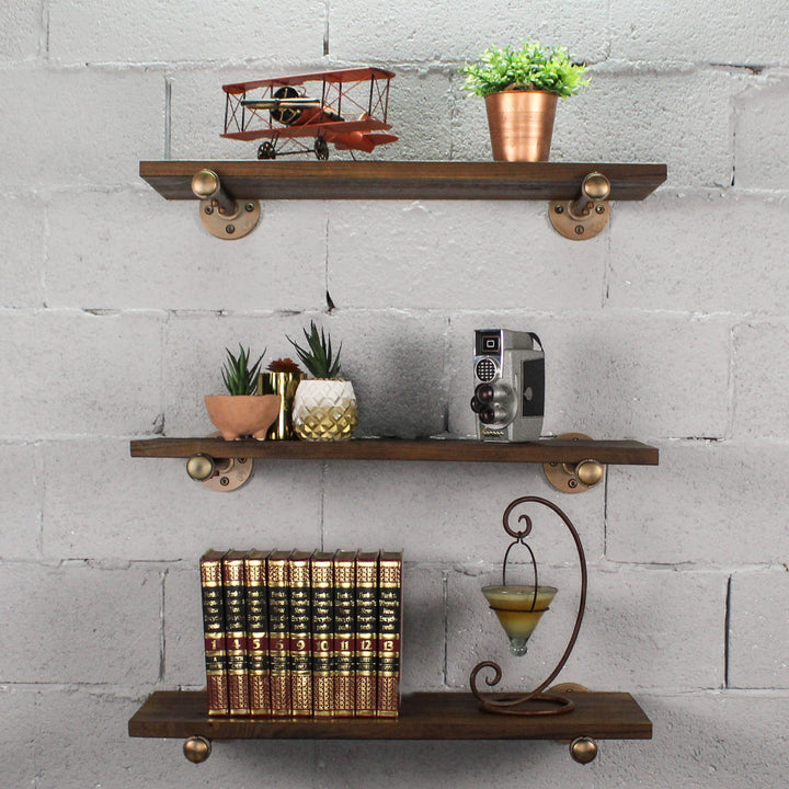 Colorado Springs 3-Piece Industrial Farmhouse Wall Shelf Bundle