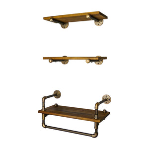 Jacksonville 3-Piece Industrial Farmhouse Shelf Rack Wall Shelf Bundle - H&R Lifestyle