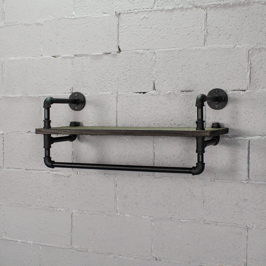 Ann Harbor Industrial Farmhouse Wall Mounted Shelf Rack