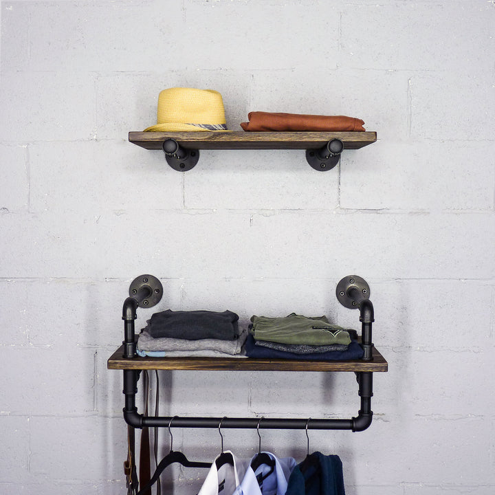 Austin 2-Piece Industrial Farmhouse Multi-Purpose Wall Shelf Rack