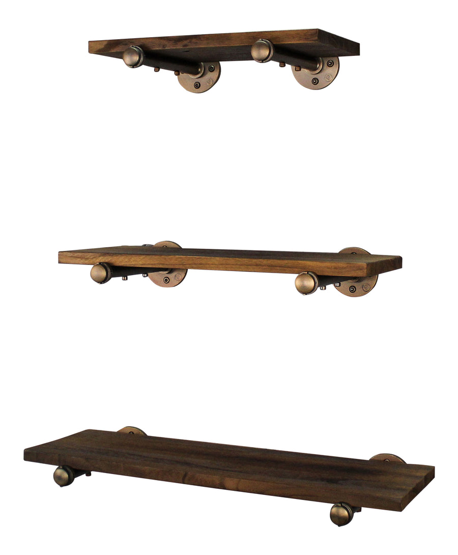 Louisville Set of 3 Industrial Farmhouse Decorative Wall Shelves - H&R Lifestyle