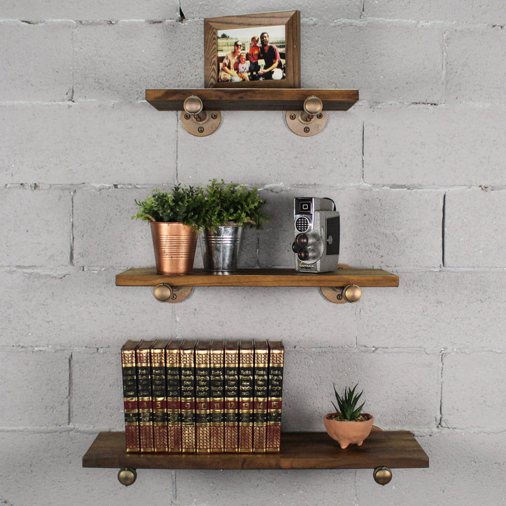 Louisville Set of 3 Industrial Farmhouse Decorative Wall Shelves