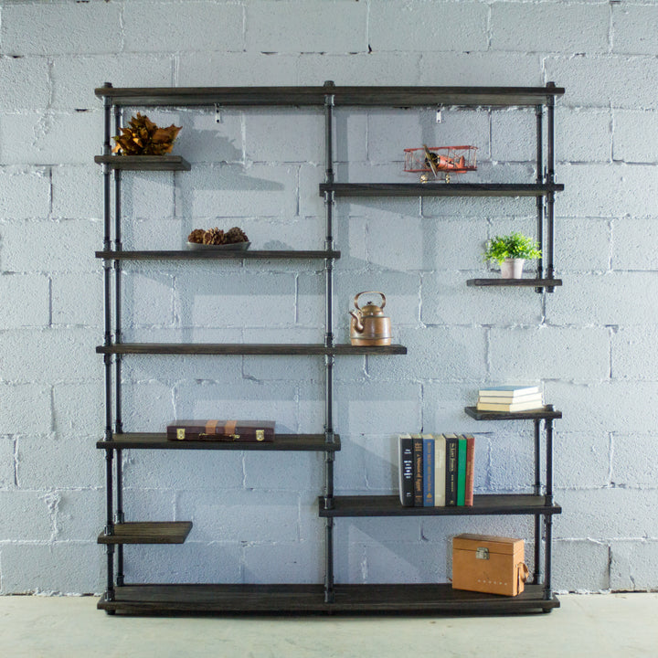 Nashville Industrial Mid-Century Etagere Bookcase - H&R Lifestyle