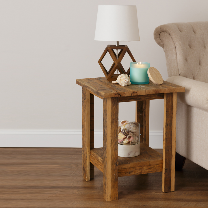 Zinna Rustic Reclaimed Oak End Table - H&R Lifestyle