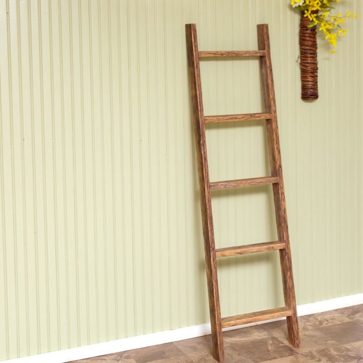 Malva 5 Ft. Reclaimed Oak Decorative Wood Ladder - H&R Lifestyle