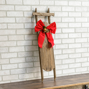 Poinsettia Decorative Wooden Christmas Sled