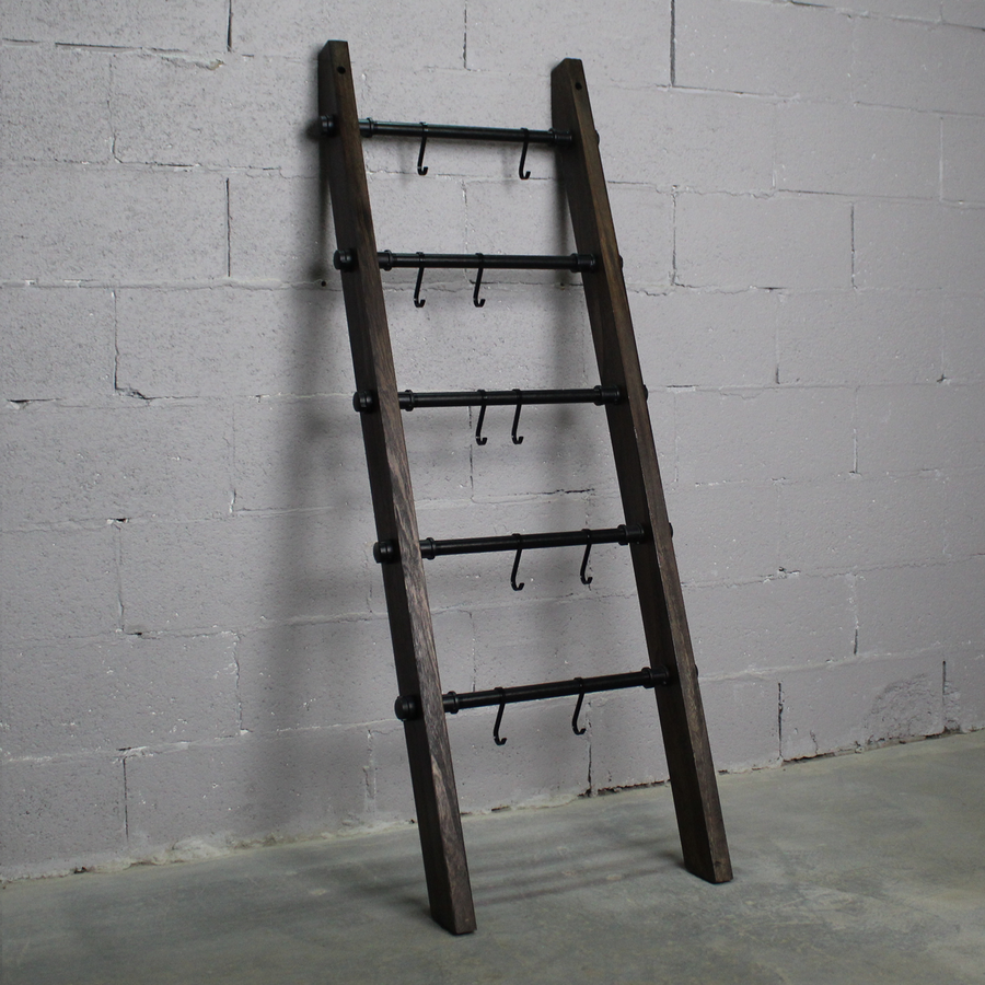 Williston Farmhouse Industrial Decorative Accent Leaning Ladder