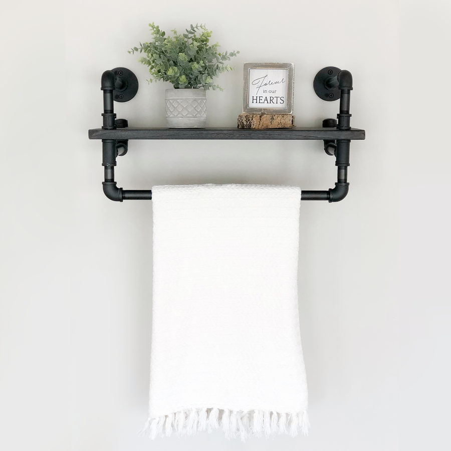 Ann Harbor Industrial Farmhouse Wall Mounted Shelf Rack - H&R Lifestyle