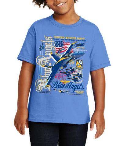 United States Navy Flight Demonstration Squadron Blue Angels T-Shirt for Boys
