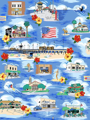 Huntington Beach Surf City Hawaiian™ Fabric