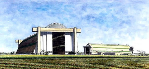MCAS Tustin Blimp Hangars LTA - ink & watercolor