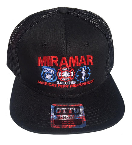 """Miramar Salutes America's First Responders"" Embroidered Black Hat"