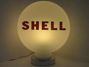 LARGE SHELL Script Gas Pump Globe Milk Glass Art Desk Lamp Petrol Pump Globe - Global Collection Uk