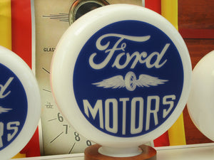 FORD Vintage Wings style Gas Pump Globe, Retro Gas Pump Globes .             (3 Sizes Available)
