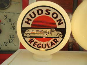 Hudson Regular Gasoline Retro Gas Pump Globe Style .            (2 Sizes Available)
