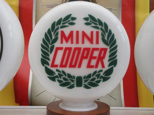 Mini Cooper Laurel Wreath Design Retro Gas Pump Globe Vintage Style