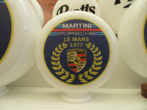 Porsche Martini Le Mans Tribute Style Gas Pump Globe (3 sizes Available)