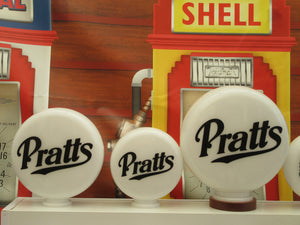 Pratt's Oil Gas Pump Globe, Petrol Globe Milk Glass One Piece          (3 Sizes Available)