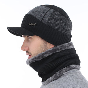Sport Beanie With Brim and Wool Scarf Set