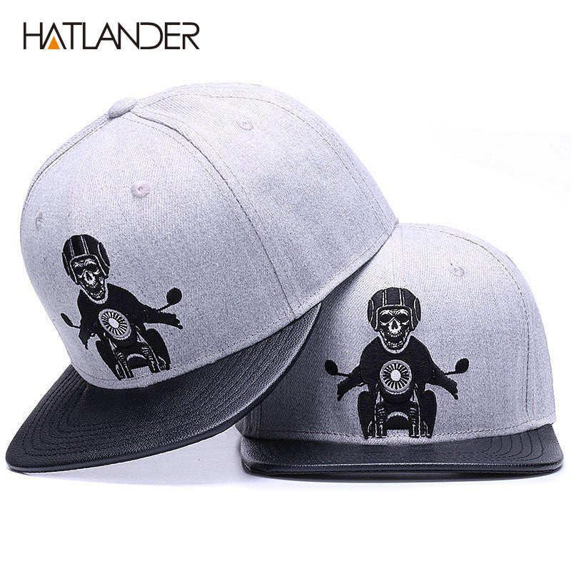 Skeleton Snapback with Leather Brim