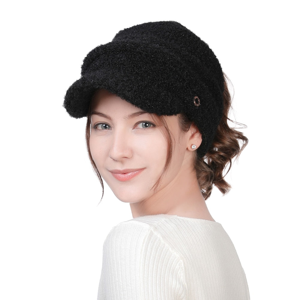 Ponytail Beret with Brim