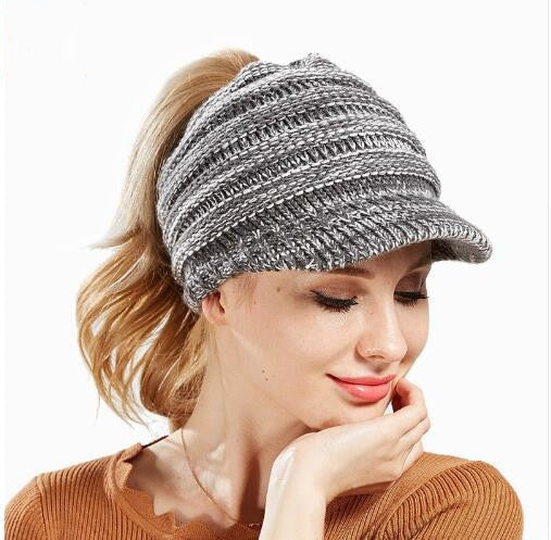 Ponytail Beanie With Brim