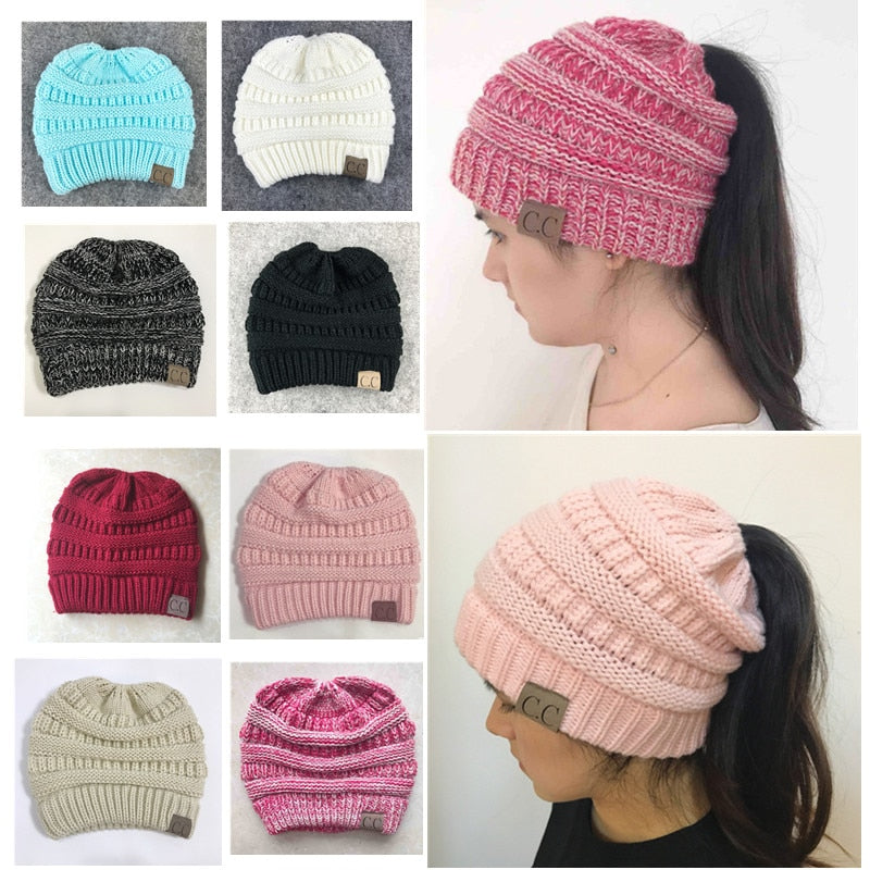 Ponytail Beanie Crochet Knit