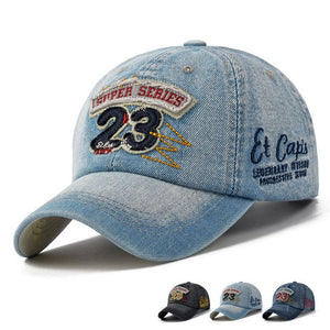 Denim Vintage Embroidered and Patched Adjustable Baseball Caps - Unisex