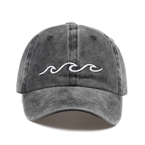 Sea Wave Embroidery Baseball Cap Cotton - Unisex