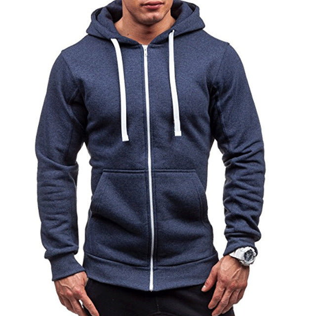 Men's Slim Drawstring Zippered Hoodie with Pockets