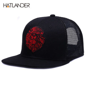 Lion Embroidered Mesh Snapback
