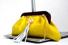 Mini Yellow Snakeprint Crossbody Clutch