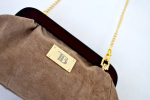 Mini Taupe Crossbody Clutch
