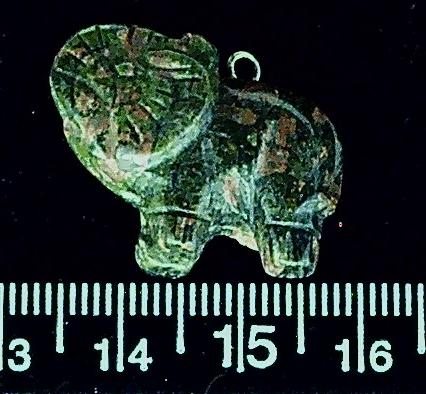 Jasper Green and pink/brown stone elephant pendant focal bead  26mm length