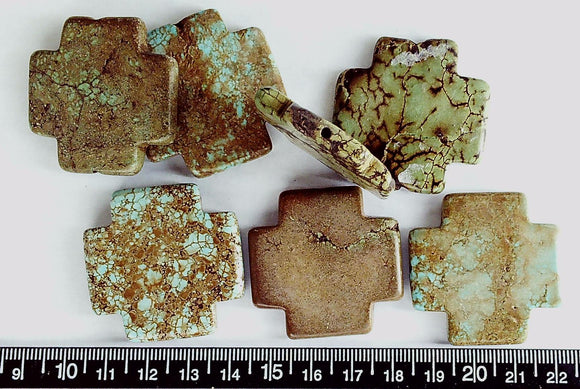 Brown/green/blue magnesite 38mm square cross beads   (lot of 7)