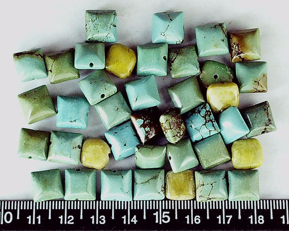 Blue/brown turquoise 9mm puffed square beads (39 plus 5 bonus greens)