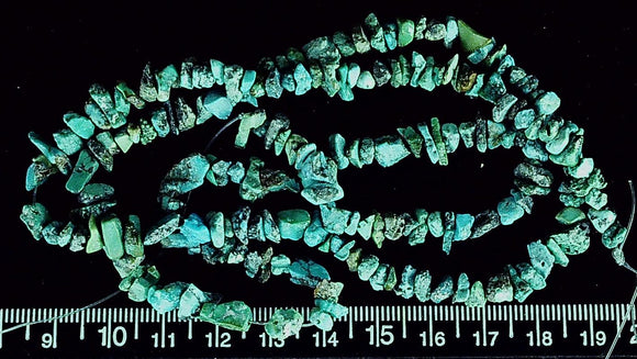 Aqua blue/black turquoise center drill polished chip beads to 3mm 24 inches