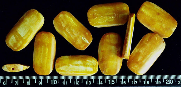 Orange bone rounded rectangle beads 38mm x 22mm  (lot of 10 beads)