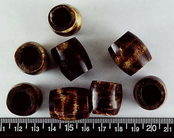 Brown horn large round tube beads  (22mm x 20mm/large hole)(lot of 8 beads)