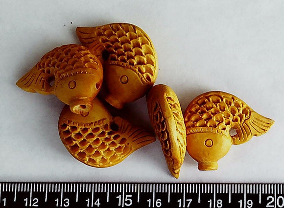 Wood light golden brown carved fish pendant beads (lot of 5 beads) One hole plus fish mouth to hang