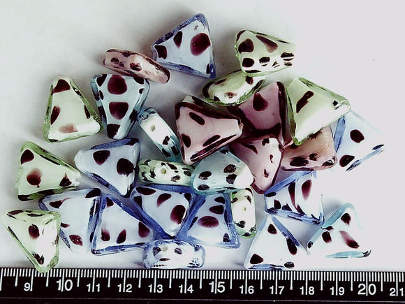 Multicolor with brown lampwork glass triangle beads (lot of 28 beads)